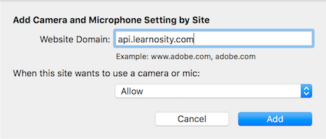 Mac Add Camera and Microphone Settings by Site