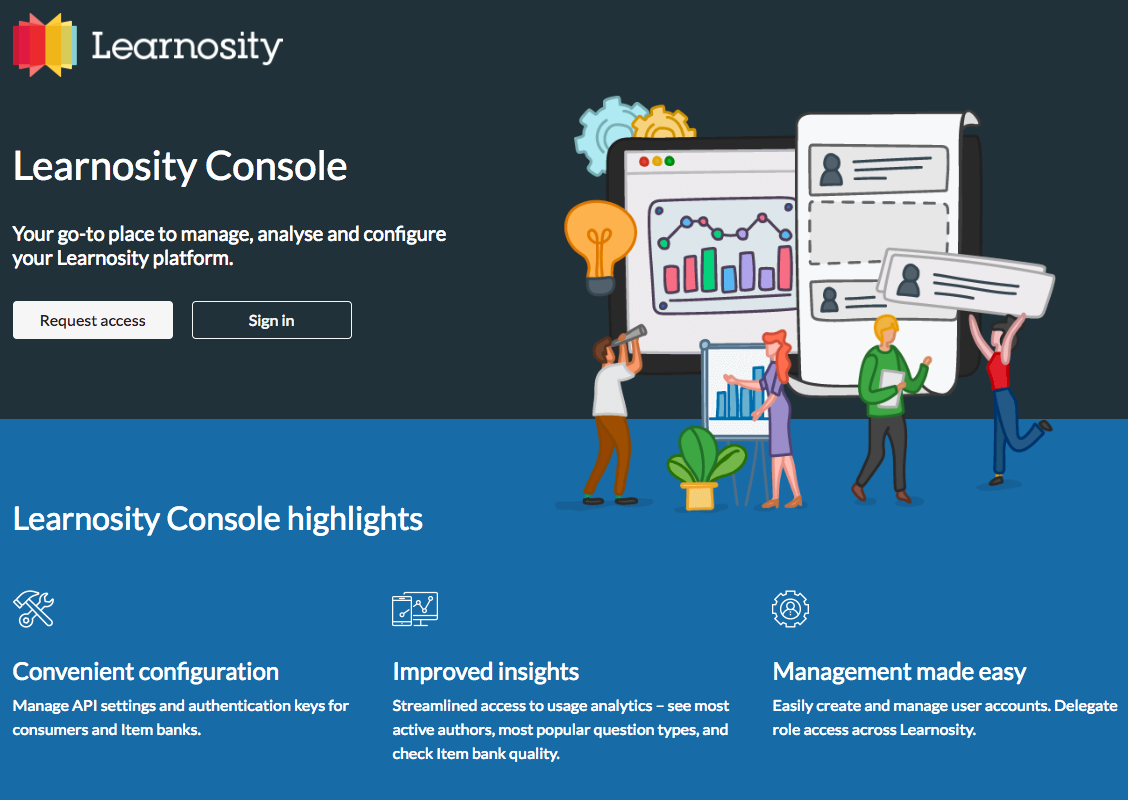 Learnosity Console landing page