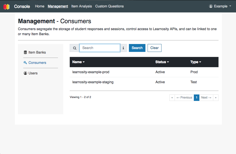 Learnosity Console Management Module