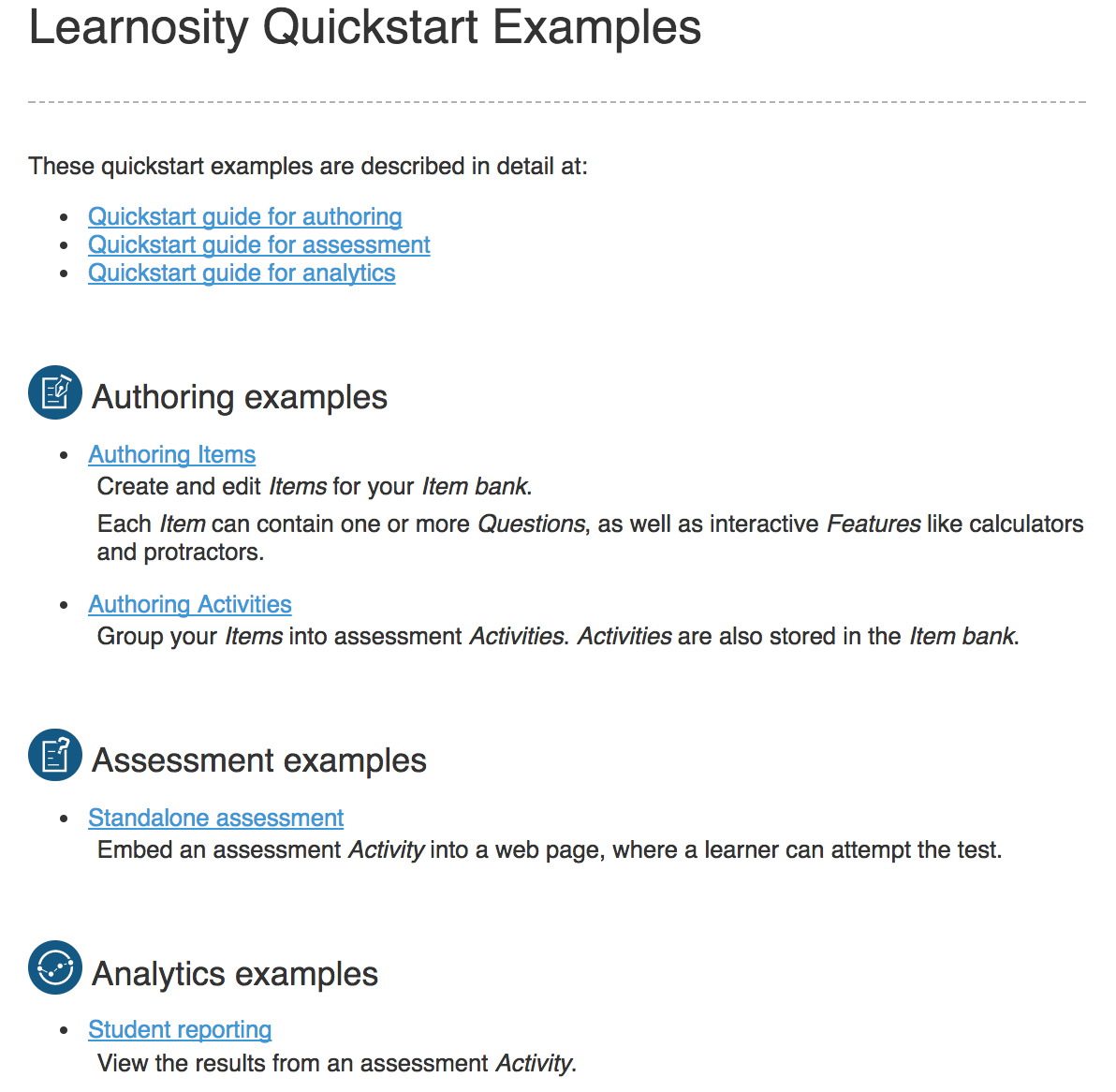 Quickstart Examples Screenshot